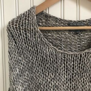 Vince Slouchy Loose-Knit Sweater in Marled Gray